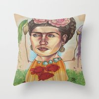 frida Throw Pillows featuring FRIDA by busymockingbird