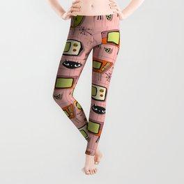 Retro Tv Pink #midcentury Leggings