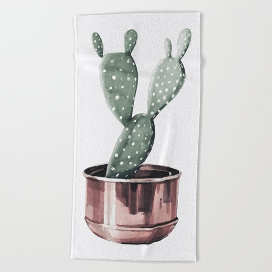 Potted Cactus Rose Gold Beach Towel