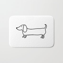 Simple dachshund black drawing Bath Mat