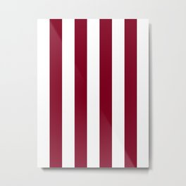 Vertical Stripes - White and Burgundy Red Metal Print