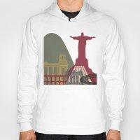 rio de janeiro Hoodies featuring Rio de Janeiro skyline poster by Paulrommer