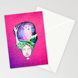 Dreaming of Trees - Whimsical Galaxy Hair Watercolor Girl Stationery Cards