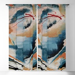 Drift 6: a bold mixed media piece in blues, brown, pink and red Blackout Curtain
