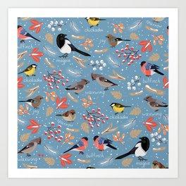 Wintering Birds. Art Print