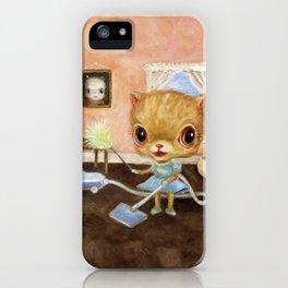 Orange Cat Vacuuming iPhone Case