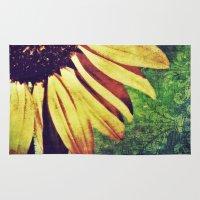 fleur de lis Area & Throw Rugs featuring Sunflower Fleur De Lis by minx267