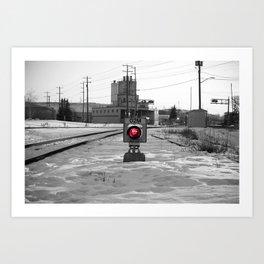 Train Track Signal Light Art Print