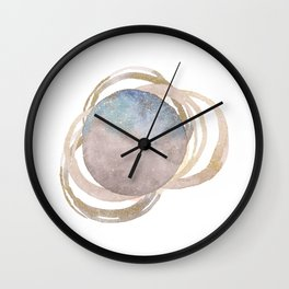Abstract Circles Fake Glitter WatercolorSpace Design Wall Clock