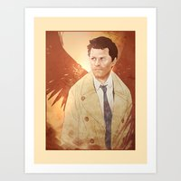 castiel Art Prints featuring Castiel by Vaahlkult