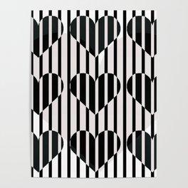 Black and White Stripe Hearts Design Poster