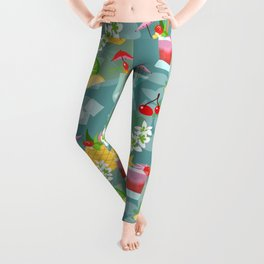 Blue Hawaii Cocktail Hour Leggings