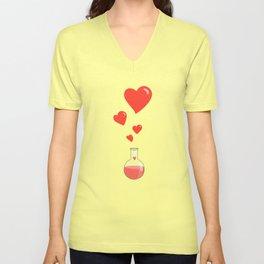Love Chemistry Flask of Hearts Unisex V-Neck