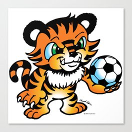 Soccer Tiger (color) square Canvas Print