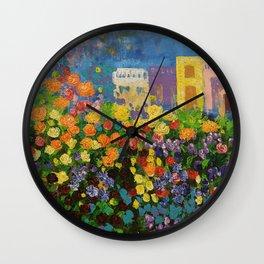 Flower Hedge Wall Clock