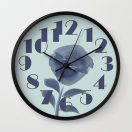 Watercolor Roses Are Blue Wall Clock