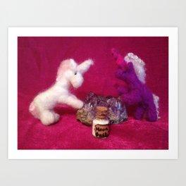 Miniature Unicorns with Moon dust Art Print