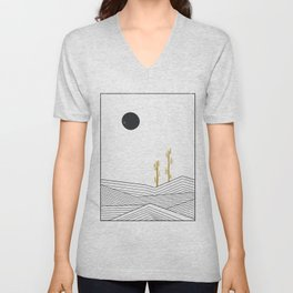 Abstract geometric landscape, desert and cactus Unisex V-Neck