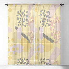 Mid Century Modern Abstract Yellow And Blush Pattern VI Sheer Curtain