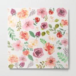 Colorful spring flowers pattern watercolors illustration Metal Print