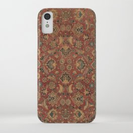 Flowery Boho Rug I // 17th Century Distressed Colorful Red Navy Blue Burlap Tan Ornate Accent Patter iPhone Case