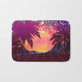Festival vaporwave landscape with rocks and palms Bath Mat