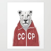 soviet Art Prints featuring Soviet lion by Balazs Solti