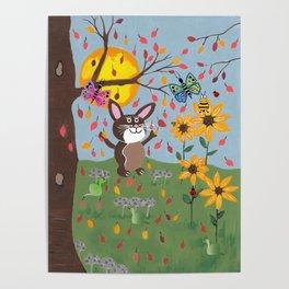 Autumn Bunny Poster