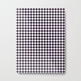 Small Diamonds - White and Dark Purple Metal Print