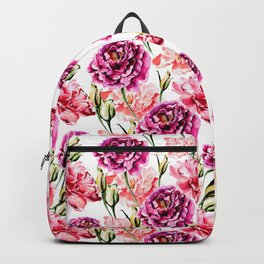 Peonies and Eustomas - flower pattern no2 Backpack