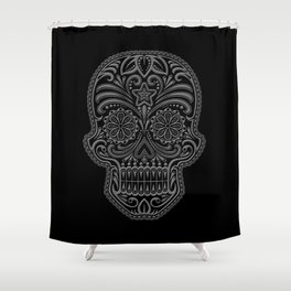 Intricate Gray and Black Day of the Dead Sugar Skull Shower Curtain
