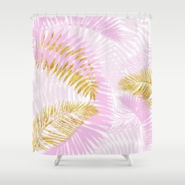 Aloha- Pink Tropical Palm Leaves and Gold Metal Foil Leaf Garden Shower Curtain