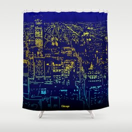 Chicago city lights at night Shower Curtain