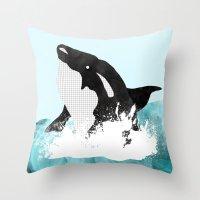killer whale Throw Pillows featuring The Killer Whale  by Jasmine Smith