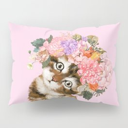 Baby Cat with Flower Crown Pillow Sham