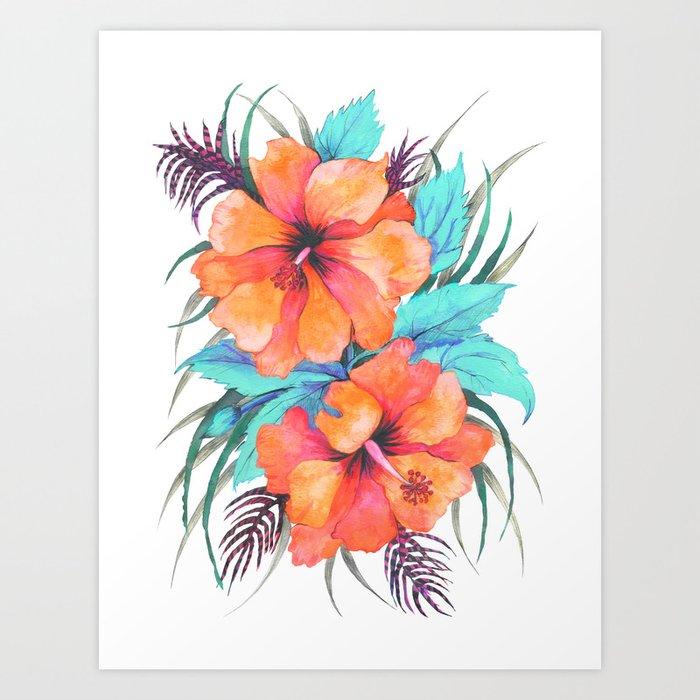 Tropical Flower Orange Hibiscus Art Print By