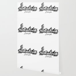 Washington graphic scribble skyline-black and white Wallpaper