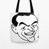frank sinatra Tote Bags featuring RatPack Frank Sinatra by Paper Fox Design Studio