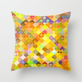 geometric square pixel and circle pattern abstract in yellow orange red blue Throw Pillow