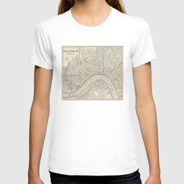 Vintage Map of New Orleans LA (1866) T-shirt
