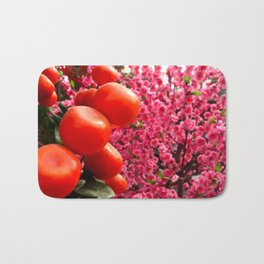 Orange Clementines and Pink Trees Bath Mat