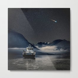 On the Water Under the Stars Metal Print