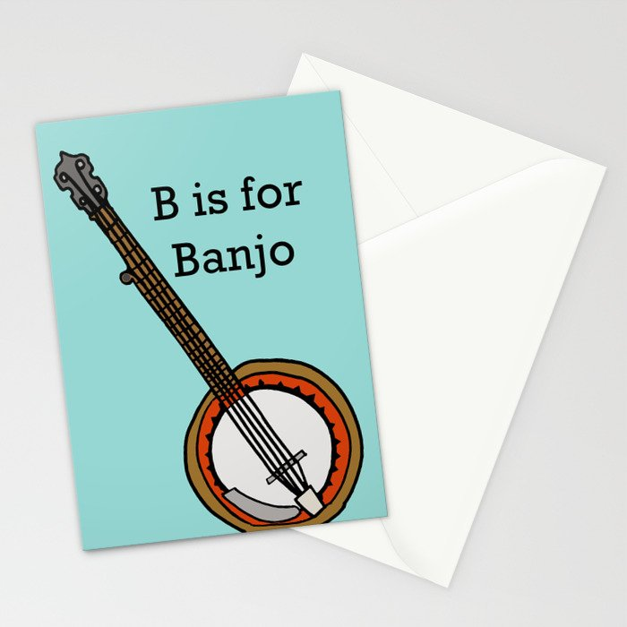 B is for Banjo, typed. Stationery Cards