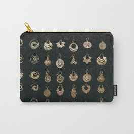 Gold Earrings in Safed Carry-All Pouch