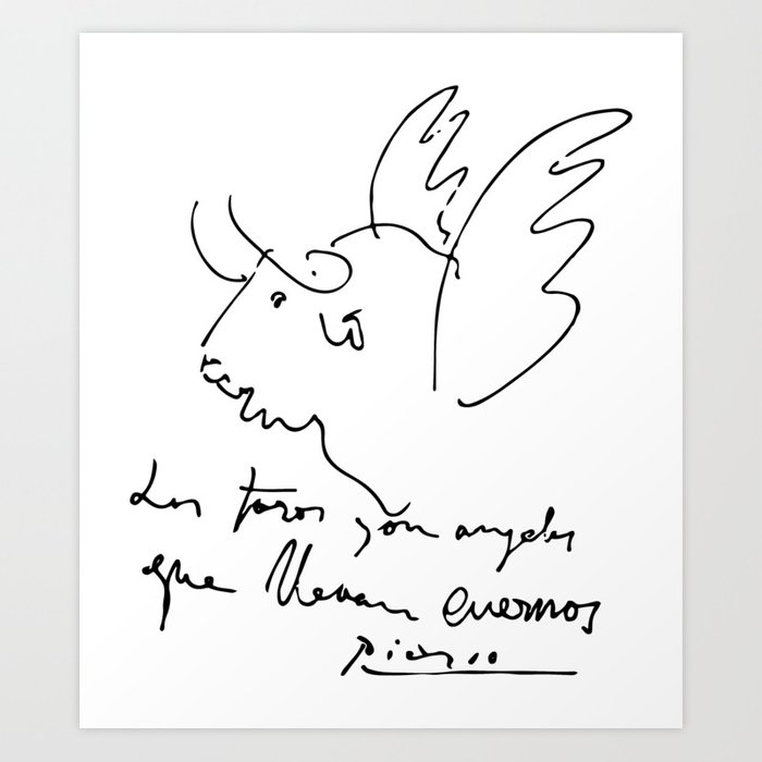 Pablo Picasso Bulls Quote (Angels with horns) Artwork Shirt, Reproduction  Art Print by cloth,o,rama