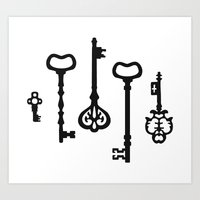 black keys Art Prints featuring Victorian black & white Keys by XOOXOO
