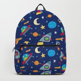 Fun Space Rockets and Aliens Backpack