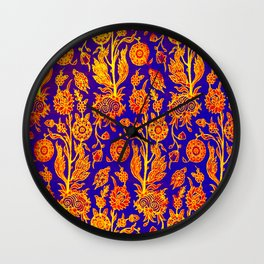 Resplendent Floral Yellow Red Blue Pattern Wall Clock