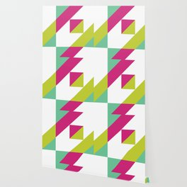Hot Pink and Neon Chartreuse Color Block Wallpaper