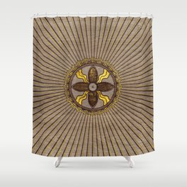 Seal of Shamash - Wood burned with gold accents Shower Curtain
